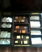 Antique Victorian French Black Wood Case Game Nap Iii With Mop Tokens And Counters