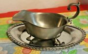 Vintage Pewter International Footed Gravy Boat/ Pourer 277 131 W 2 Trays