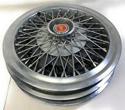 """15"""" Wire Wheel Covers Vtg Car 1980s Ford Ltd Hubcaps Set Of 3"""
