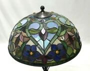 Vtg Stained Glass Lamp Shade Red Blue Hearts Victorian Style 18 Large