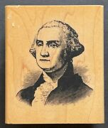 George Washington Face Portrait Us America's First President Wood Rubber Stamp