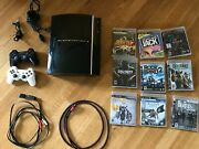 Sony Playstation 3 Ps3 Cechl01 Game Console 80gb Black 9 Games Lot