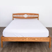 Solid Wood Platform Bed Frame Headboard Full Moon Oak Maple Hand Crafted Usa