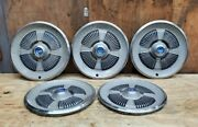 Vintage Set Of 5 1965 Ford Galaxie Hubcaps 15 In Vg Condition
