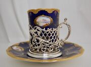 Coalport 1906 Cobalt Blue Gold And Sterling Cup And Saucer - 83477
