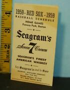 1959 Boston Red Sox Home Games Fenway Park Schedule Seagram's 7 Crown Whiskey