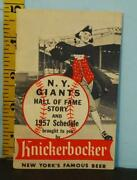 1957 New York Giants Hall Of Fame Story And Schedule Knickerbocker Beer Ny731x