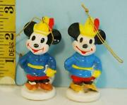 Two Mickey Mouse Made In Japan Christmas Ornaments Walt Disney Productions.