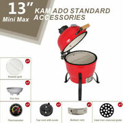 13 Kamado Grill Roaster Smoker Bbq Grill Ceramic Barbecue Grill Outdoor Red Us