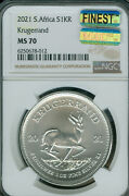 2021 South Africa Silver Krugerrand 1 Oz Ngc Ms-70 Mac Finest Spotless