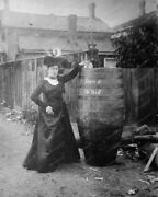 Victorian Lady Poses Beside Barrel And Cat Professional Photo Lab Reprint 1
