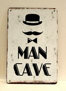 New Welcome To The Man Cave Rules Tin Metal Sign Vintage Style Garage Bear Den 1