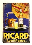 Ricard Tin Poster Sign Vintage French Ad Style Man Cave Bar Liquor Store Pernod