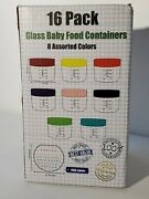 16 Pack Stackable Glass Baby Food Storage Containers 2oz W/multicolored Lids