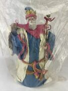 Midwest Importers 16 Paper Mache Santa Tree Topper Figurine Pink Blue White New