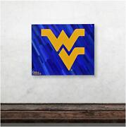 West Virginia Mountaineers 16x20 Logo And Blue Background Gallery Wrapped Artwork