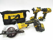 Dewalt Dcs571 4-1/2 In. Saw And Dcf80 1/4 In. Impact And Dcd708 1/2 In. Drill Set