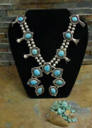 Gorgeous 175g Navajo Sterling Blue Turquoise Squash Blossom Necklace Old Pawn