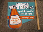 Kraft Miracle French Salad Dressing Bottle Food 1941 Grocery Store Display Sign
