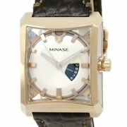 Minase His Five Windows Vm07-l02wd Automatic Silver Dial Gold Plated Leather Men