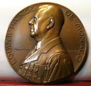 1922 1947 Rare French 72mm Art Medal By Turin Louis De Monaco 25y Reign