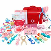 Kids Wooden Toys Doctor Nurse Medical Kit Role Play Classic Simulation Children