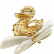 Vintage Yellow Gold Duck Brooch Floating On Pearls