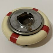 Vintage Bean Bag Ashtray With Red And White Life Preserver Top