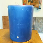 Partylite 3-wick Blue Candle 6 X 8 Triple Wick Large Pillar