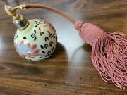 Antique Hand Painted Perfume Atomizer Pink And Gold
