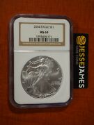 2004 1 American Silver Eagle Ngc Ms69 Classic Brown Label