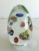Millefiori And Controlled Bubble Paperweight - Egg Shaped - Floating Millefiori