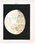 Antique Print Vintage 1910 Astronomy Star Map Chart Moon 11th Day Matte Black B9