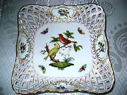 7406/ro Lg Square Open Weave Fruit/candy Dish Herend Hungary Rothschild Porcelan