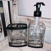 Dr. H Gnadendorff Soap Dispenser And Toothbrush Holder Apothecary Glass Black New