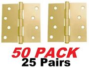 Ultra Hardware 4 X 4 Door Hinge With Removable Pin - Satin Brass 25 Pairs