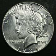 1928 1 Peace Silver Dollar Unc Det Rare Old Coin Free Combined Shipping D