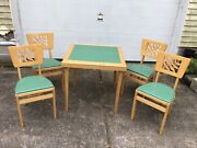 Vintage Mcm Stakmore Folding Card Table And 4 Chairs With Carved Leaf Design