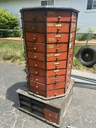 Vintage American Bolt And Screw Rotating Hardware Store Cabinet Bins Drawers.
