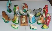 Religious Nativity Set 15 Figures Hand Cast Cement And Hand Painted, Nice 1950s