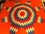 Bright Vintage 30and039s Lone Star Antique Quilt Hand Stitched 1930and039s Orange Red Blue