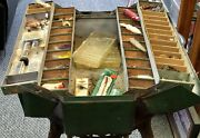 Vintage Walton Grip Loc Tackle Box Full Of Fishing Lures Jigs Floats Spoons Wood