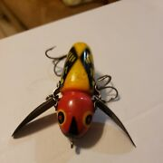 Vintage Old Wood Fishing Lure Heddon Musky Crazy Crawler Red And Yellow And Black