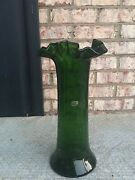 Vintage Beacon Crackle Green Glass 12 Inch Vase Ruffled Rim Excellent