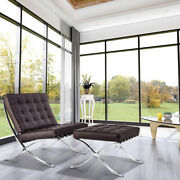 Brown Barcelna Lounge Chair And Ottoman Footstool Sofa Real Leather Club Chair