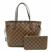 Authentic Louis Vuitton Damier Neverfull Pm Ebene Tote Bag N41359 Brown /058729
