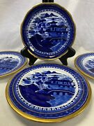 Antique 1820s Stevenson, Alcock And Wms Flow Blue Oriental And Gold Bowl Andplates Uk