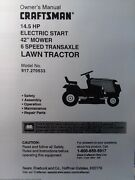 Sears Craftsman 14.5 Hp 6-sp 42 Lawn Tractor 917.270533 Owner And Parts Manual