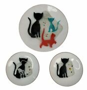 Vtg Set Of 3 Bovano Chesire Cat Kitten Plates Saucers Modern Mod 1960and039s Copper