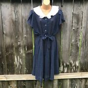 Jcpenney Fashions Vintage Dress Dotted Swiss Sheer Secretary Belted Navy L/xl